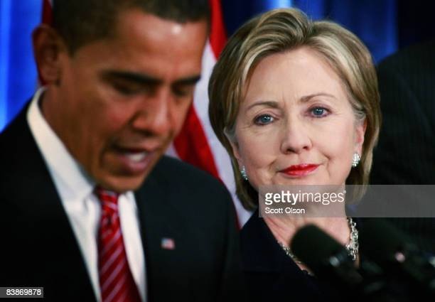 Presidentelect Barack Obama introduces Senator Hillary Clinton as his choice for secretary of state during a press conference at the Hilton Hotel...