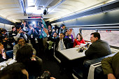 Presidentelect Barack Obama speaks with passengers on the train en route to Baltimore Saturday Jan 17 during his inaugural whistle stop train trip to...