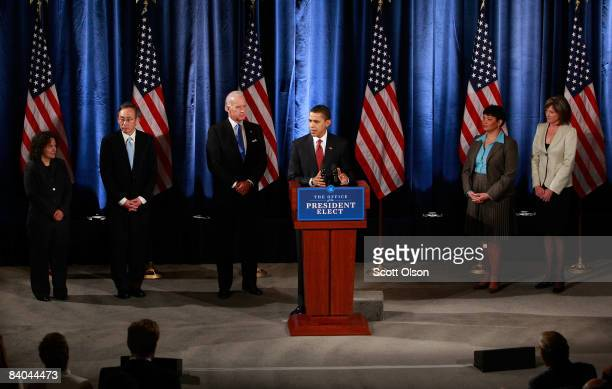 Presidentelect Barack Obama with Vice Presidentelect Joe Biden introduces his administration�s energy and environmental team including Nancy Sutley a...