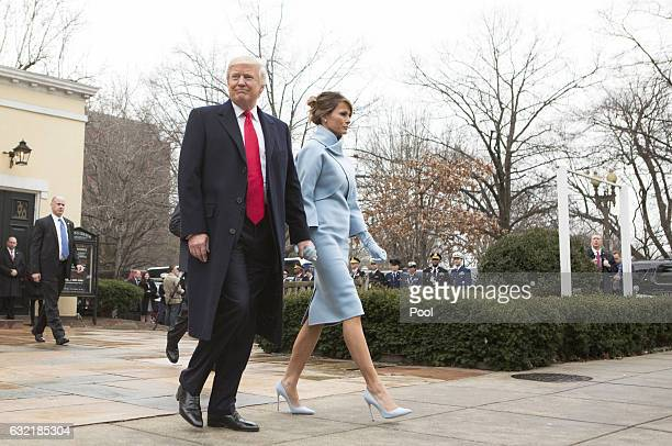 Presidentelect Donald J Trump and first ladyelect Melania Trump depart St John's Church on Inauguration Day on January 20 2017 in Washington DC...