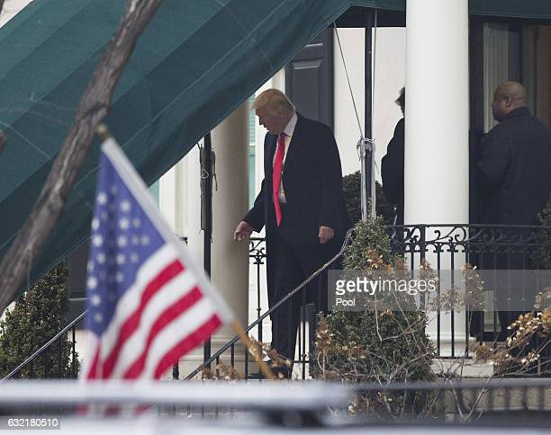 Presidentelect Donald J Trump departs Blair House to attend a church service at St John's Episcopal Church on Inauguration Day on January 20 2017 in...
