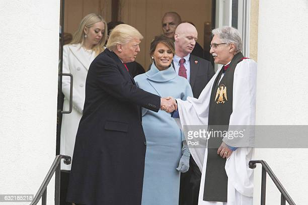 Presidentelect Donald J Trump First ladyelect Melania Trump chat with Rev Luis Leon while departing St John's Church on Inauguration Day on January...