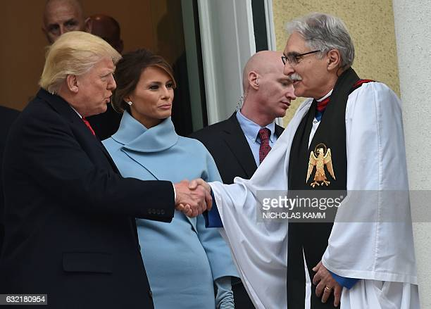 US Presidentelect Donald Trump and his wife Melania speak with Reverend Luis Leon as they leave St John's Episcopal Church on January 20 before...