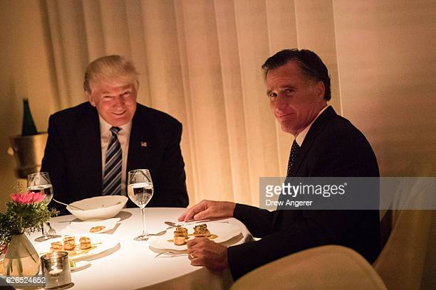 Presidentelect Donald Trump and Mitt Romney dine at Jean Georges restaurant November 29 2016 in New York City Presidentelect Donald Trump and his...