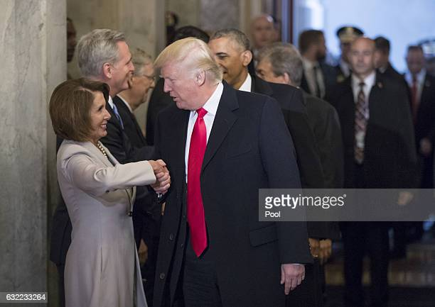 Presidentelect Donald Trump and President Barack Obama are greeted by members of the Congressional leadership including House Minority Leader Nancy...