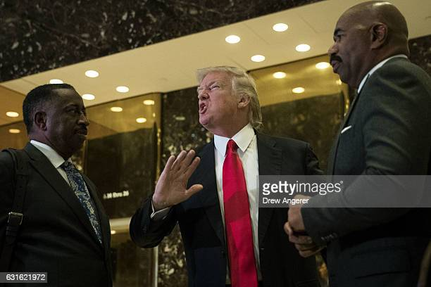 Presidentelect Donald Trump and television personality Steve Harvey speak to reporters after their meeting at Trump Tower January 13 2017 in New York...