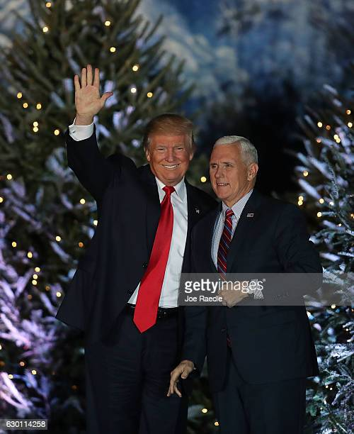 Presidentelect Donald Trump and Vice PresidentelectÊMike Pence appear together during a stop on his 'USA Thank You Tour 2016' at the Orlando...