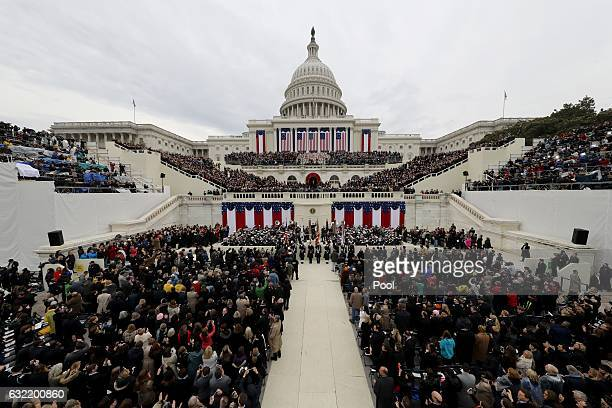 Presidentelect Donald Trump arrives for the presidential inauguration ceremonies on the West front of the US Capitol in Washington DC US January 20...
