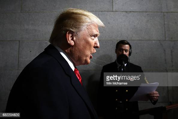 S Presidentelect Donald Trump arrives on the West Front of the US Capitol on January 20 2017 in Washington DC In today's inauguration ceremony Donald...