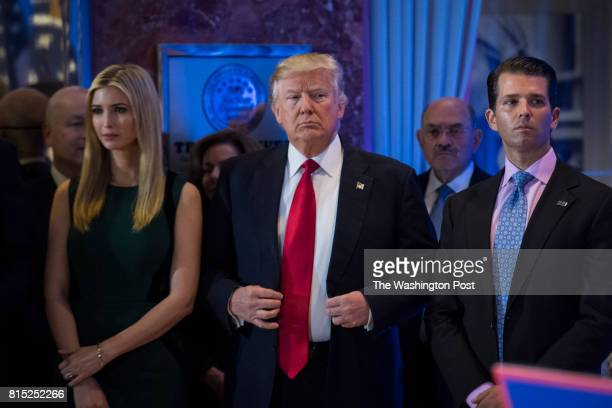 Presidentelect Donald Trump Ivanka Trump and Donald Trump Jr listen during a press conference at Trump Tower in New York NY on Wednesday Jan 11 2017