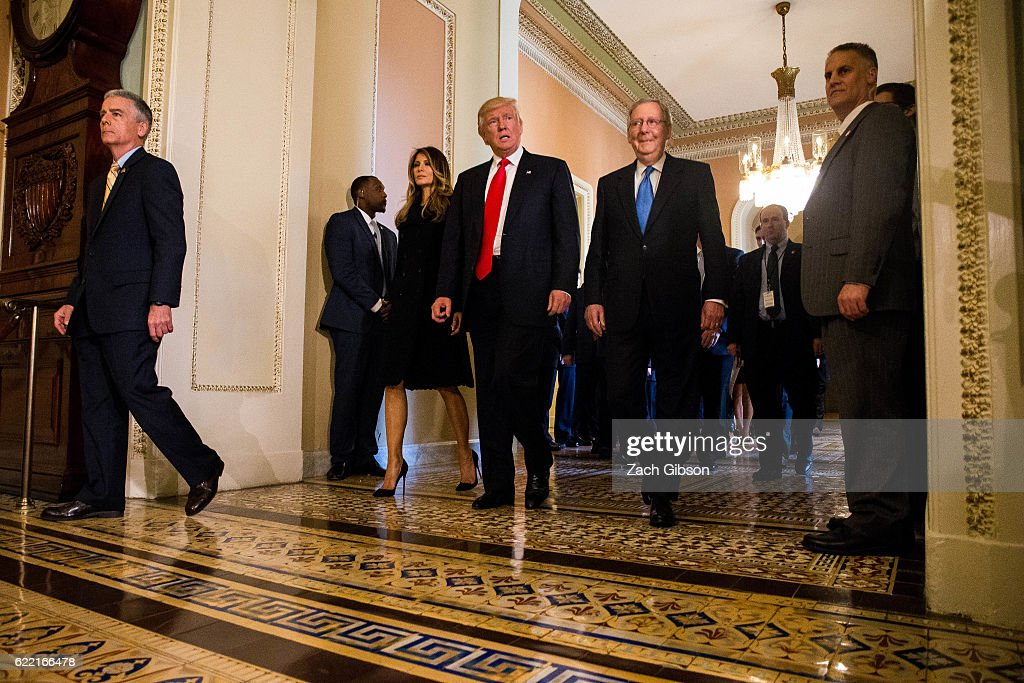 President-elect Donald Trump leaves a meeting with Senate Majority Leader Mitch McConnell (R-KY), at right, at the U.S. Capitol November 10, 2016 in Washington, DC. Earlier in the day president-elect Trump met with U.S. President Barack Obama at the White House.