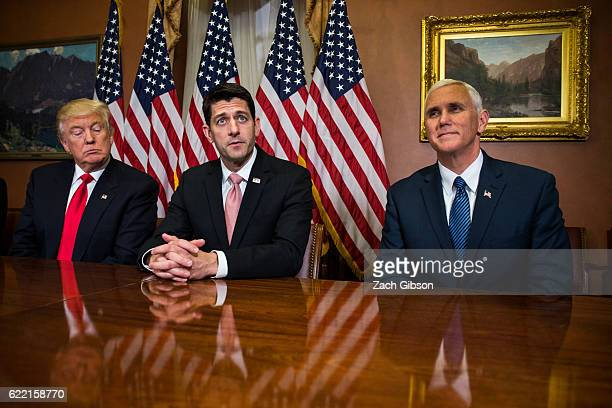 Presidentelect Donald Trump meets with House Speaker Paul Ryan and Vice Presidentelect Mike Pence at The Capitol Building on November 10 2016 in...