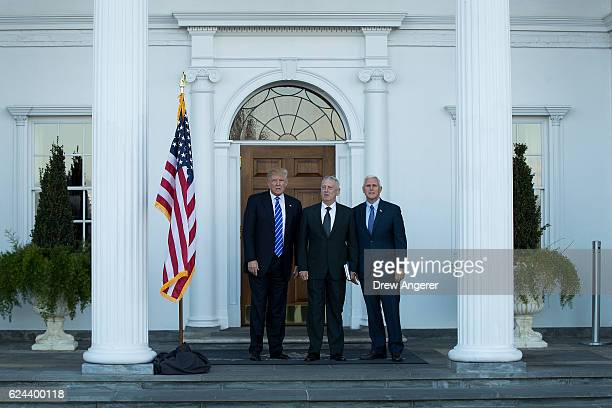 Presidentelect Donald Trump retired United States Marine Corps general James Mattis and vice presidentelect Mike Pence pose for a photo before their...