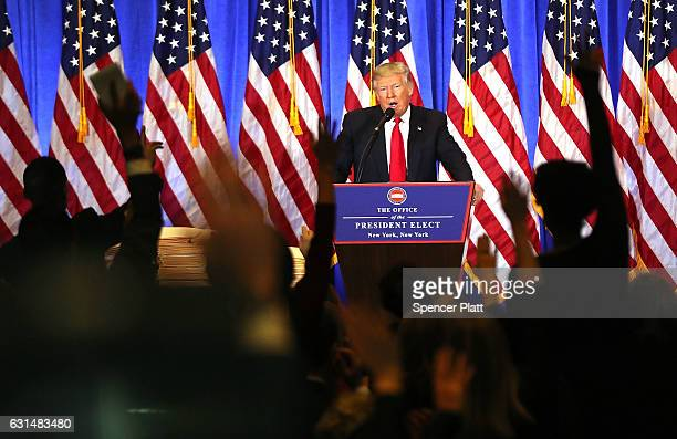 Presidentelect Donald Trump speaks at a news cenference at Trump Tower on January 11 2017 in New York City This is Trump's first official news...