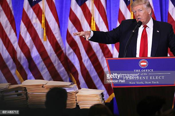 Presidentelect Donald Trump speaks at a news cenference at Trump Tower on January 11 2017 in New York City This is TrumpÕs first official news...