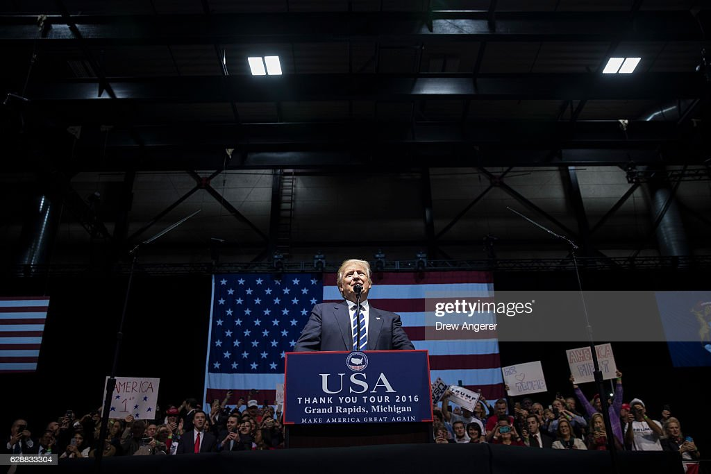 President-elect Donald Trump speaks at the DeltaPlex Arena, December 9, 2016 in Grand Rapids, Michigan. President-elect Donald Trump is continuing his victory tour across the country.