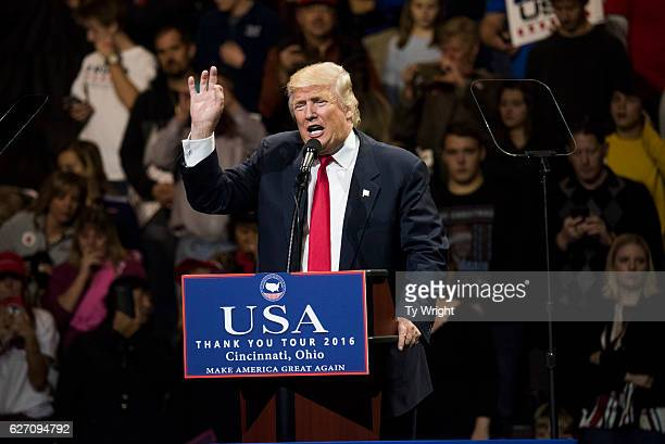 Presidentelect Donald Trump speaks during a stop at US Bank Arena on December 1 2016 in Cincinnati Ohio Trump took time off from selecting the...