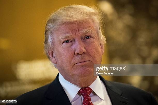 Presidentelect Donald Trump speaks to reporters following his meeting with Jack Ma Chairman of Alibaba Group meeting at Trump Tower January 9 2017 in...