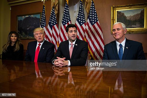 Presidentelect Donald Trump with his wife Melania Trump meet with House Speaker Paul Ryan and Vice Presidentelect Mike Pence at The Capitol Building...