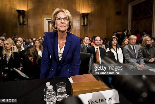 WASHINGTON DC Presidentelect Donald Trump's nominee for Secretary of the Education Betsy DeVos appears before the Senate Health Education Labor and...