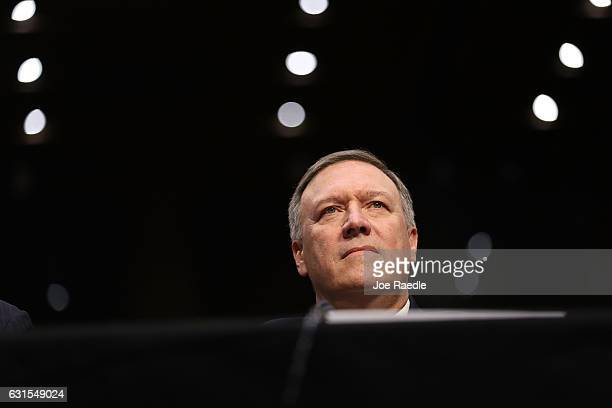 S Presidentelect Donald Trump's nominee for the director of the CIA RepMike Pompeo attends his confirmation hearing before the Senate Intelligence...