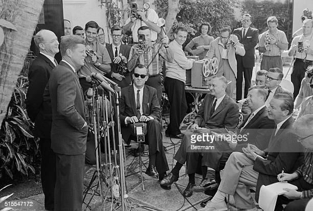 Presidentelect John F Kennedy announces his nomination of Dean Rusk as secretary of state at a press conference in Palm Beach Florida