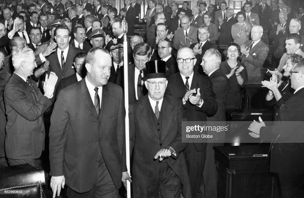 President-elect John F. Kennedy arrives at the Mass. State House to speak a joint session of Legislature on Jan. 9, 1961.