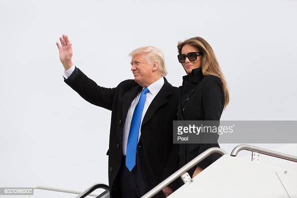 Presidentelect of The United States Donald J Trump and first Ladyelect Melania Trump arrive at Joint Base Andrews the day before his swearing in...