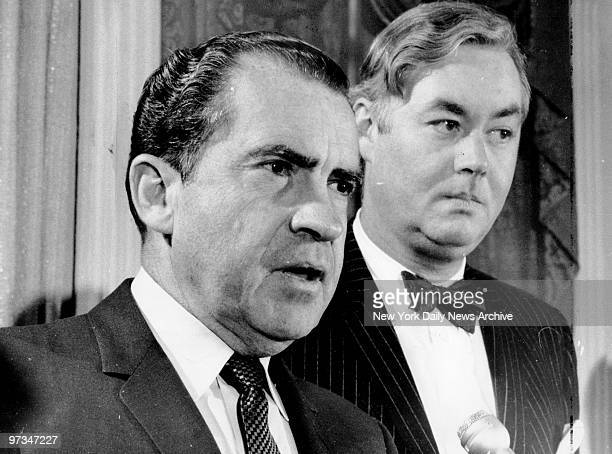 Presidentelect Richard Nixon and Urban Affairs Assistant Daniel Patrick Moynihan at Nixon's Hotel Pierre headquarters
