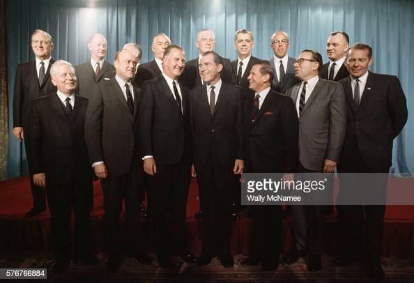 Presidentelect Richard Nixon announces his cabinet appointees at a ceremony Front row from left are David M Kennedy Secretary of Treasury Melvin R...