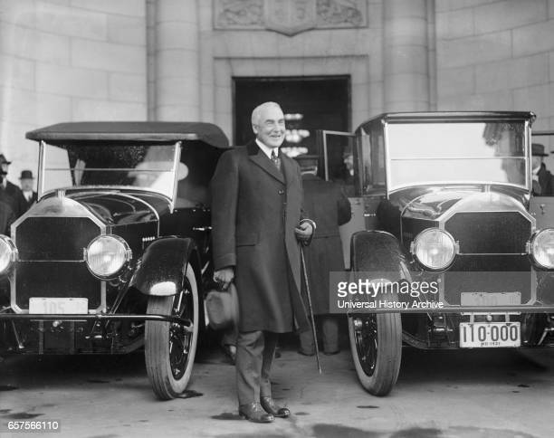 US PresidentElect Warren G Harding Portrait Arriving for Inauguration Washington DC USA National Photo Company March 3 1921
