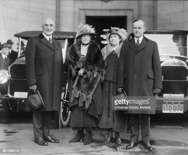 PresidentElect Warren G Harding wife Florence Harding Grace Coolidge Vice PresidentElect Calvin Coolidge Portrait Arriving for Inauguration...