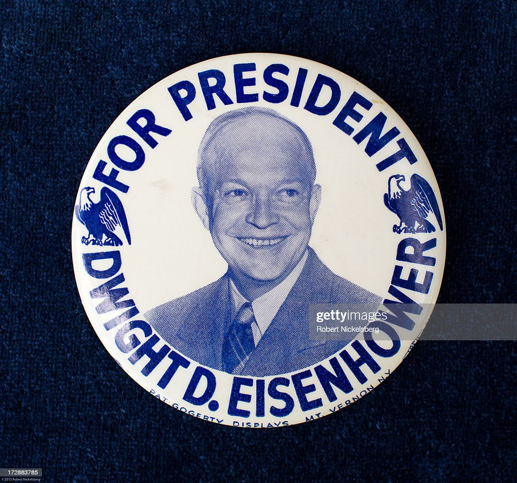 A 1956 presidential campaign button of Dwight D. Eisenhower is seen June 29, 2013 in Dorset, Vermont. The rare double eagle Eisenhower button was made by Pat Gogerty Displays of Mt. Vernon, NY.