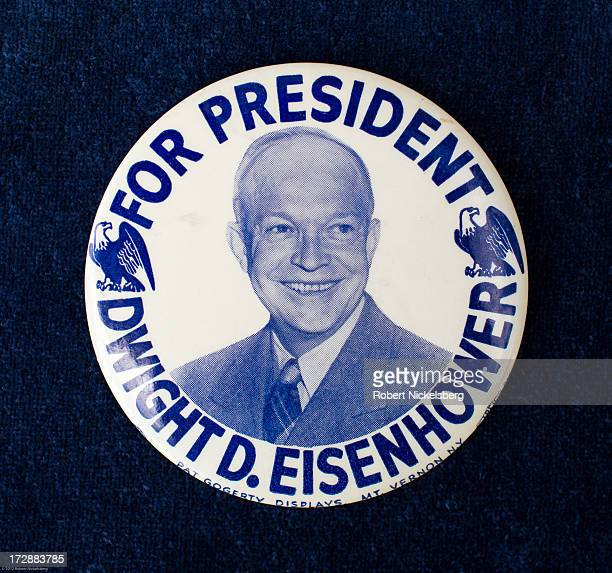 A 1956 presidential campaign button of Dwight D Eisenhower is seen June 29 2013 in Dorset Vermont The rare double eagle Eisenhower button was made by...
