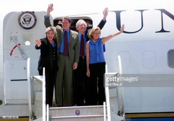 Presidential candidate Al Gore and wife Tipper are joined by VicePresidential candidate Joe Lieberman and wife Hadassah as they wave to the crowd...