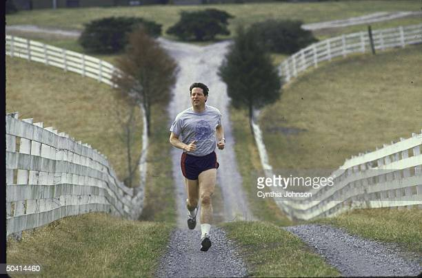 Presidential candidate Al Gore jogging on his farm on Super Tuesday