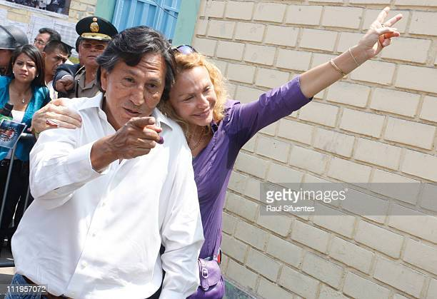 Presidential candidate Alejandro Toledo of the party 'Peru Posible' and his wife Eliane Karp during the general election for presidency for congress...