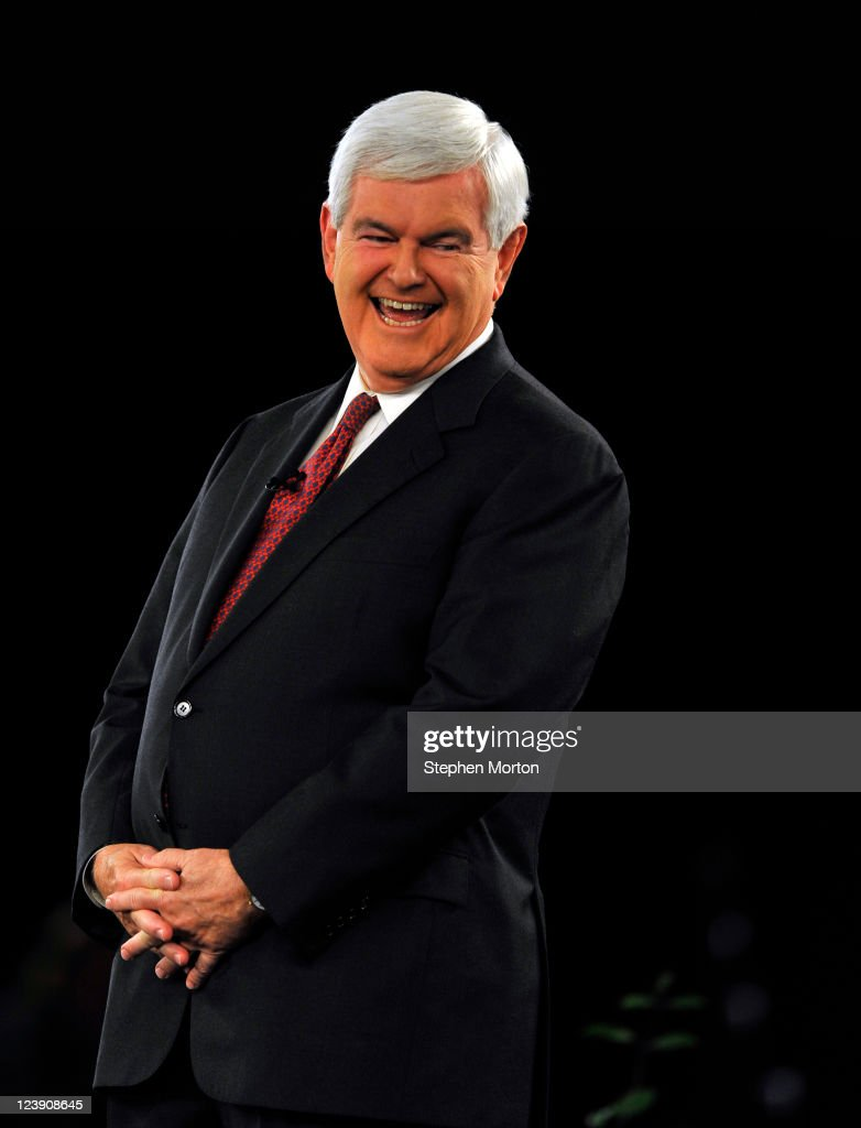 GOP Presidential candidate and former Georgia Congressman <a gi-track='captionPersonalityLinkClicked' href=/galleries/search?phrase=Newt+Gingrich&family=editorial&specificpeople=202915 ng-click='$event.stopPropagation()'>Newt Gingrich</a> laughs at a remark during the American Principles Project Palmetto Freedom Forum, September 5, 2011 in Columbia, South Carolina. Herman Cain, Ron Paul, Mitt Romney and Michelle Bachmann are also scheduled to attend the forum hosted by Sen. Jim DeMint (R-SC). Texas Governor Rick Perry was scheduled to attend as well, but he decided to return to Texas because of the wildfires burning across the state.