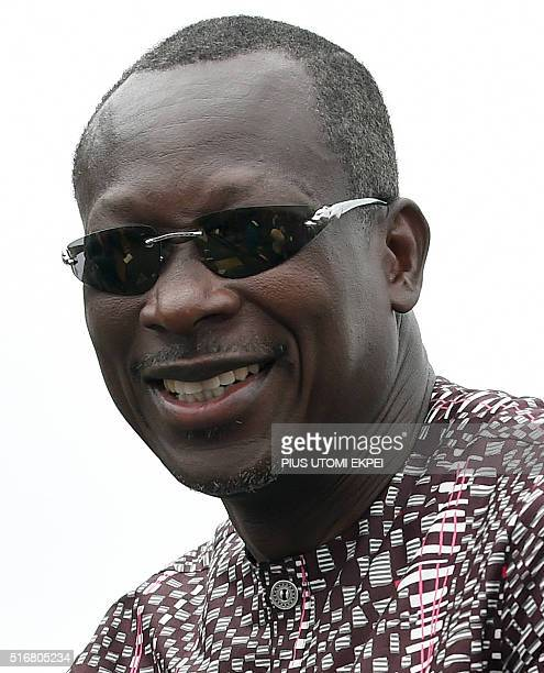 Presidential candidate and leader of coalition of the opposition Patrice Talon speaks during a campaign rally in the Ekpe district near Cotonou in...