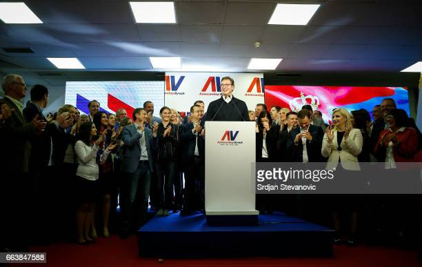 Presidential candidate and Serbian Prime Minister Aleksandar Vucic speaks during a press conference on April 2 2017 in Belgrade Serbia According to...