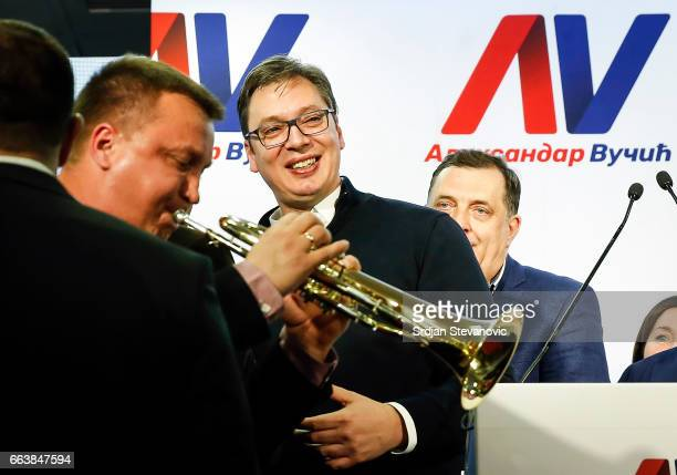 Presidential candidate and Serbian Prime Minister Aleksandar Vucic celebrates victory in first round of elections during a press conference on April...