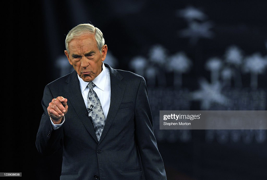 GOP Presidential candidate and Texas Congressman <a gi-track='captionPersonalityLinkClicked' href=/galleries/search?phrase=Ron+Paul&family=editorial&specificpeople=2300665 ng-click='$event.stopPropagation()'>Ron Paul</a> makes opening remarks during the American Principles Project Palmetto Freedom Forum, September 5, 2011 in Columbia, South Carolina. Newt Gingrich, Herman Cain, Mitt Romney and Michelle Bachmann are also scheduled to attend the forum hosted by Sen. Jim DeMint (R-SC). Texas Governor Rick Perry was scheduled to attend as well, but he decided to return to Texas because of the wildfires burning across the state.