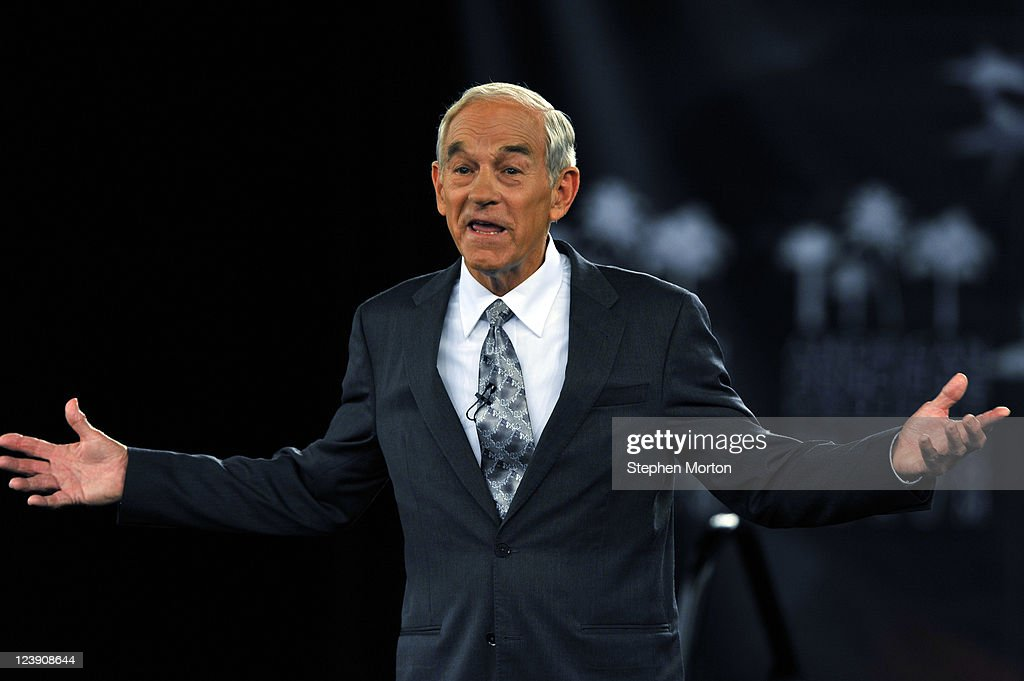 GOP Presidential candidate and Texas Congressman Ron Paul makes opening remarks during the American Principles Project Palmetto Freedom Forum, September 5, 2011 in Columbia, South Carolina. Newt Gingrich, Herman Cain, Mitt Romney and Michelle Bachmann are also scheduled to attend the forum hosted by Sen. Jim DeMint (R-SC). Texas Governor Rick Perry was scheduled to attend as well, but he decided to return to Texas because of the wildfires burning across the state.