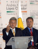 Presidential candidate Andres Manuel Lopez Obrador of the Democratic Revolutionary Party announces his victory in the Mexico presidential elections...