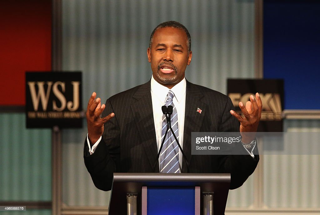 Presidential candidate Ben Carson gives his closing remarks at the Republican Presidential Debate sponsored by Fox Business and the Wall Street Journal at the Milwaukee Theatre November 10, 2015 in Milwaukee, Wisconsin. The fourth Republican debate is held in two parts, one main debate for the top eight candidates, and another for four other candidates lower in the current polls.