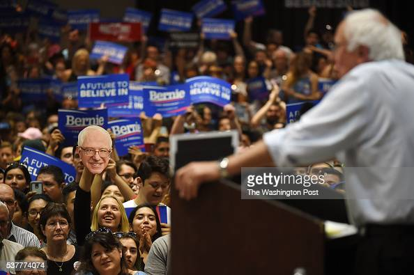 Presidential candidate Bernie Sanders speaks at a rally at Modesto Centre Plaza on Thursday June 02 2016 in Modesto CA The primary in California is...