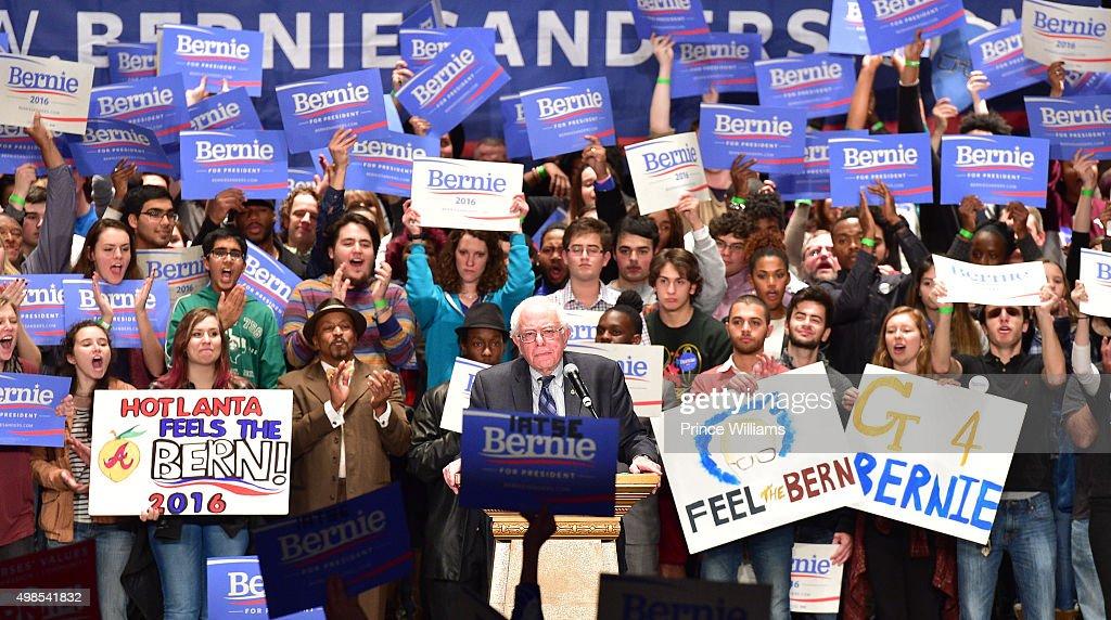 Presidential candidate Bernie Sanders speaks at the Atlanta Rally For Bernie Sanders at The Fox Theatre on November 23 2015 in Atlanta Georgia