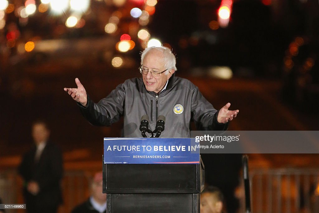 Presidential candidate Bernie Sanders speaks during the Bernie Sanders rally at Washington Square Park on April 13, 2016 in New York City.