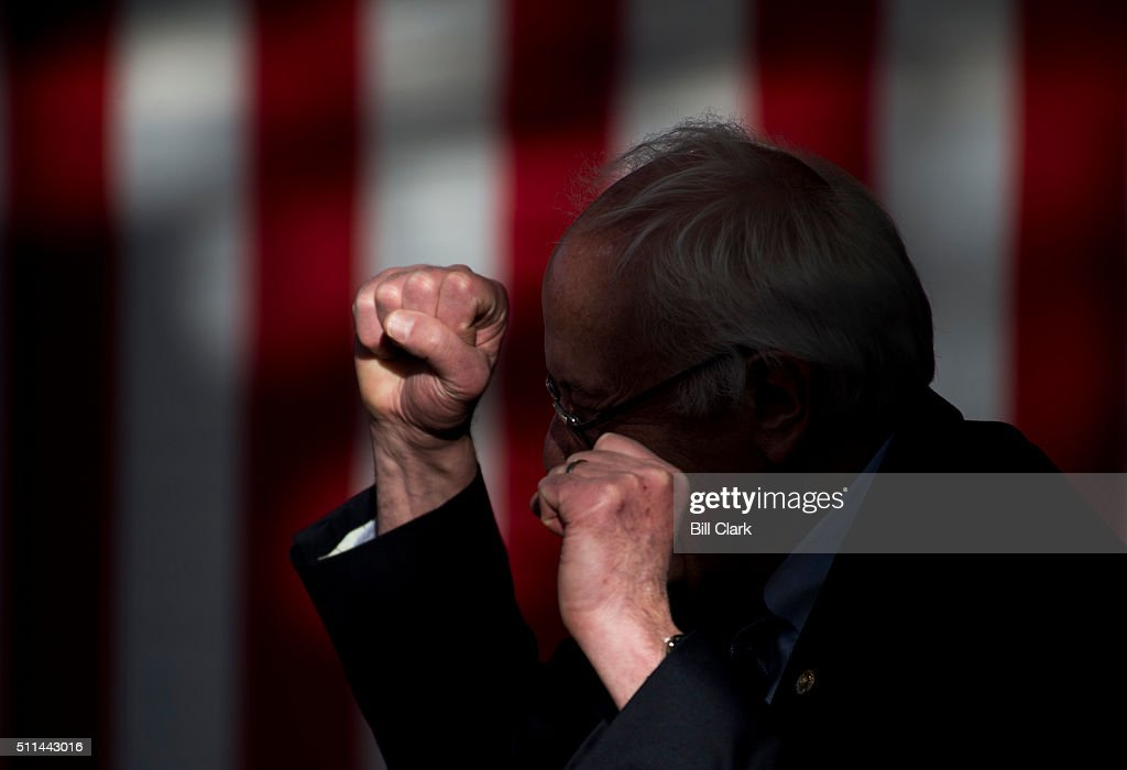 Presidential candidate Bernie Sanders speaks to supporters during the Bernie 2016 Nevada Caucus Watch Party at the Henderson Pavilion in Henderson...