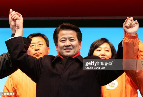 Presidential candidate Chung DongYoung of the liberal United New Democratic Party takes to the downtown streets as he begins his presidential...